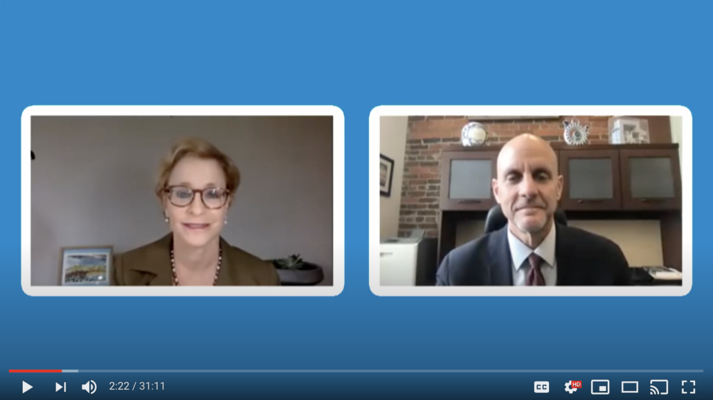 Screenshot of NCL's Sally Greenberg and FDA's Dr. Hahn on a video chat