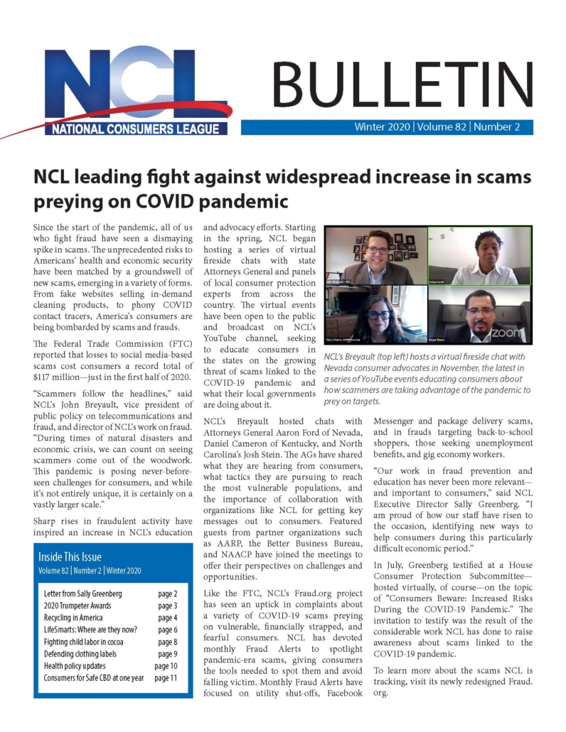 NCL's Winter 2020 Bulletin is a bi-annual publication that serves as a snapshot of the organizations work and focus during the period.